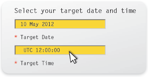 Selected Target Date and Time